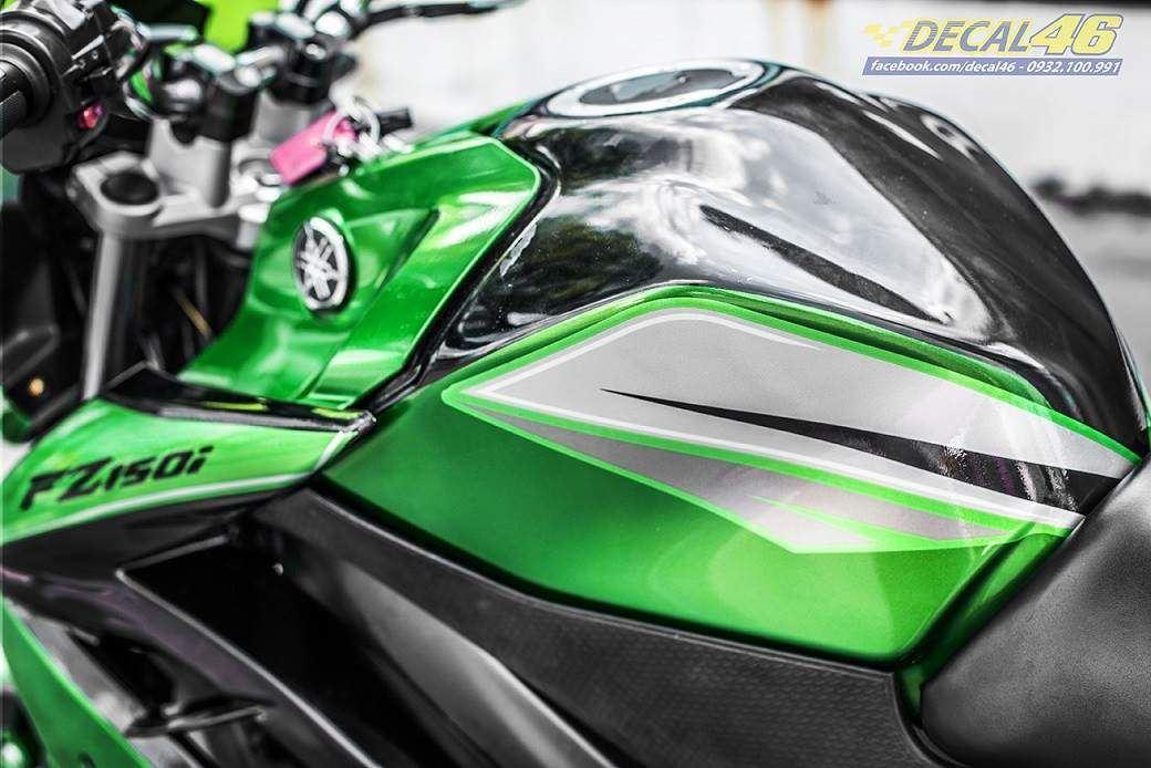 Tem xe FZ150i - 072 - Tem xe thiết kế xanh lá