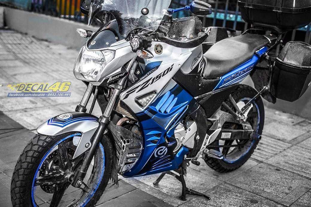 Tem xe FZ150i - 073 - Tem xe thiết kế Police xanh trắng