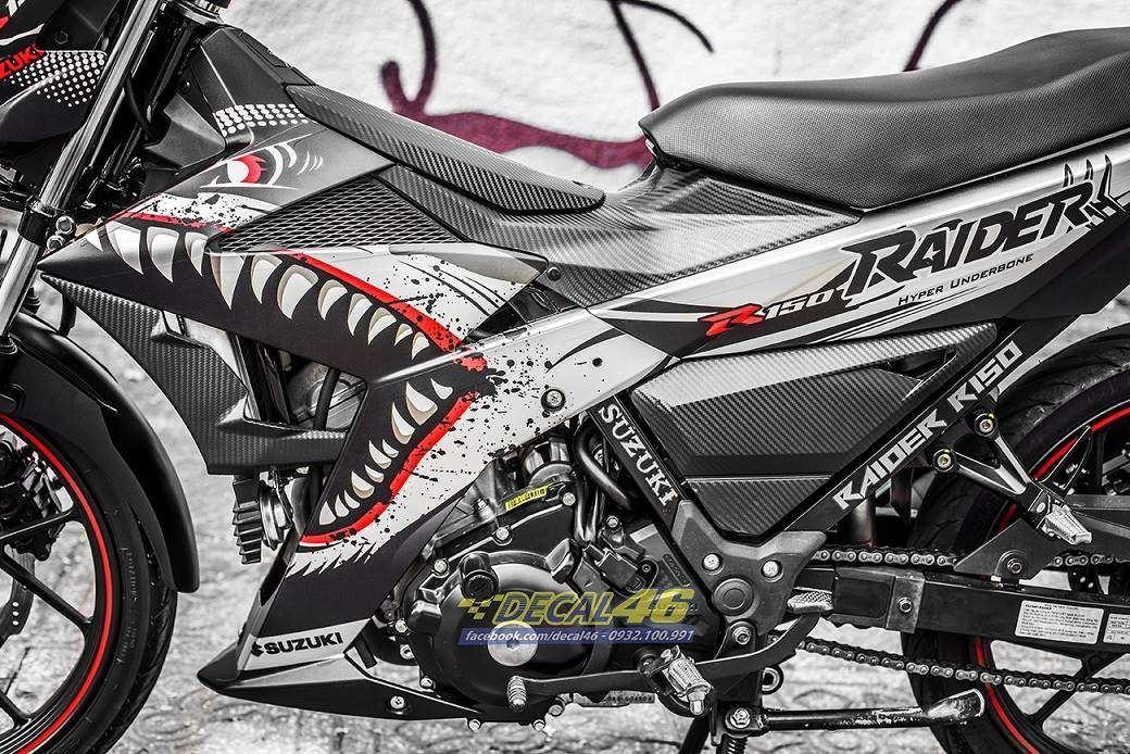 Tem xe Raider 150 - 032 - Tem xe thiết kế Shark đen