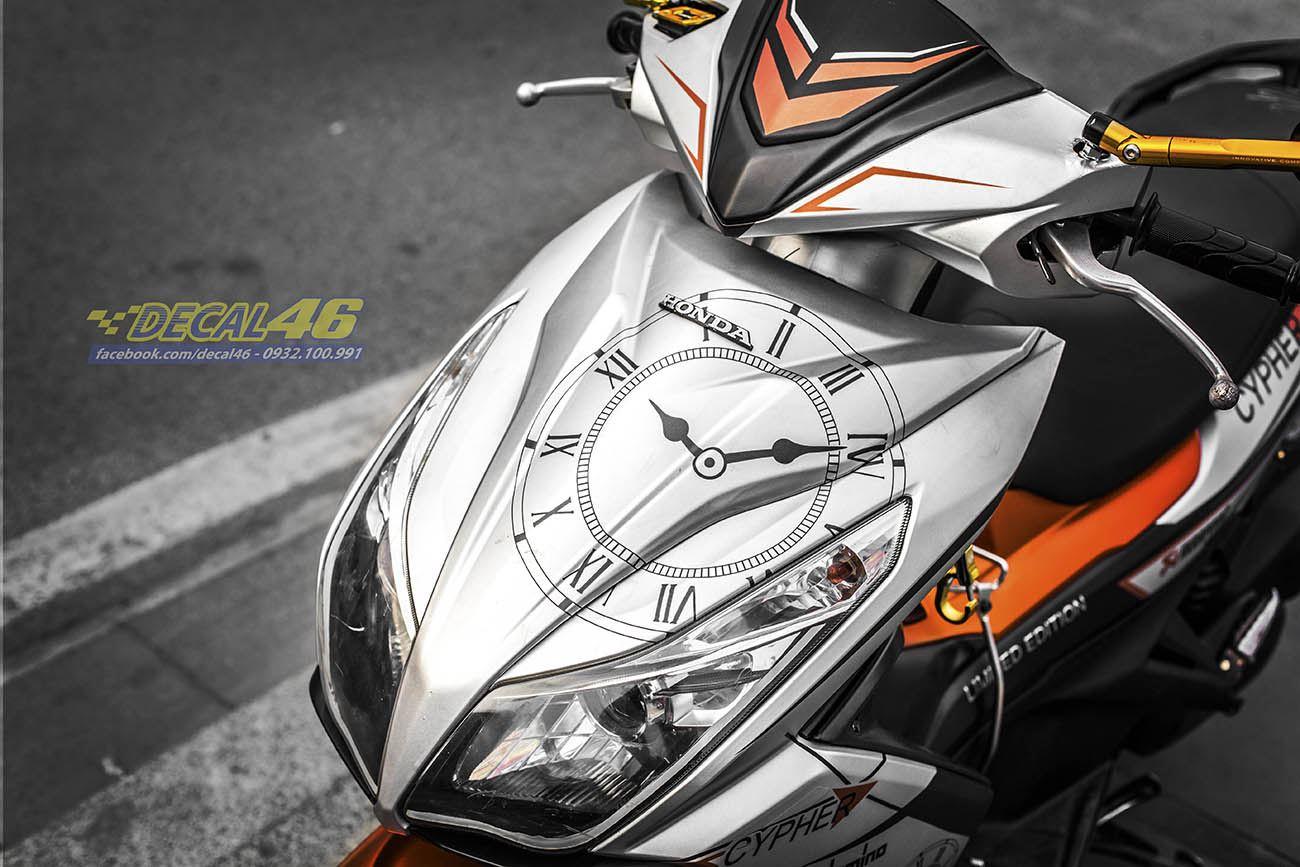 Tem xe Honda Airblade 125 - 037 - Tem xe thiết kế Clock cam đen