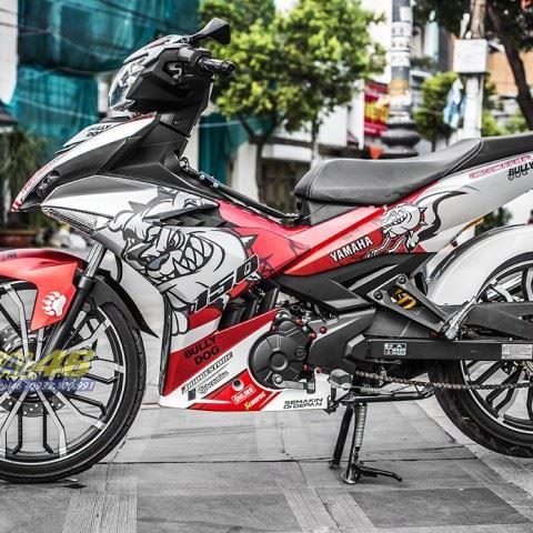 Tem xe Exciter 150 – 352 – Tem xe thiết kế Bulldog trắng đỏ
