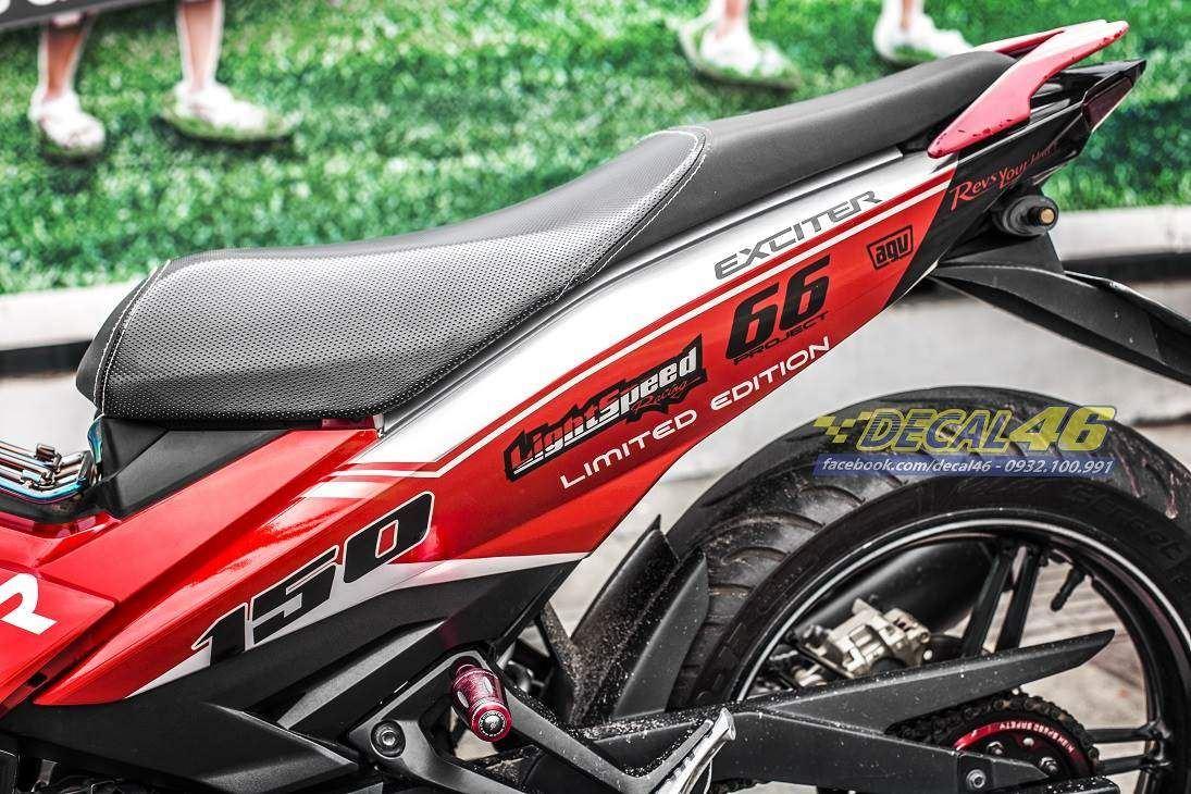 Tem xe Exciter 150 – 378 – Tem xe thiết kế Kanji candy trắng đỏ