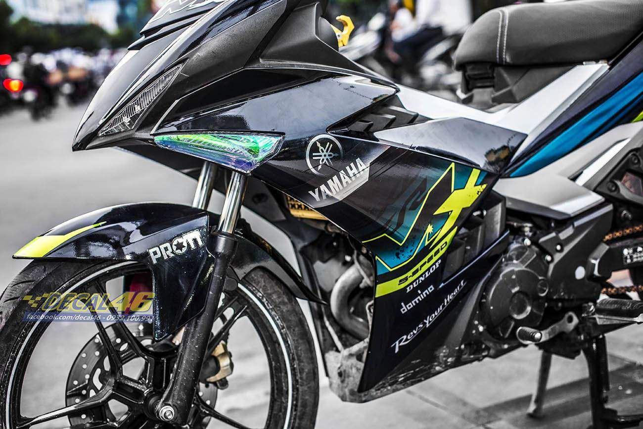 Tem xe Exciter 150 – 350 – Tem xe thiết kế MX chrome xanh đen