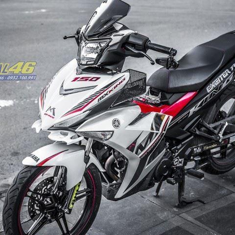 Tem xe Exciter 150 – 355 – Tem xe thiết kế MX Indo trắng đỏ