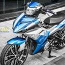 Tem xe Exciter 150 – 371 – Tem xe thiết kế Yamaha nhôm xanh bạc