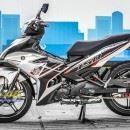 Tem xe Exciter 150 – 387 – Tem xe thiết kế zin Malay candy trắng đỏ đen