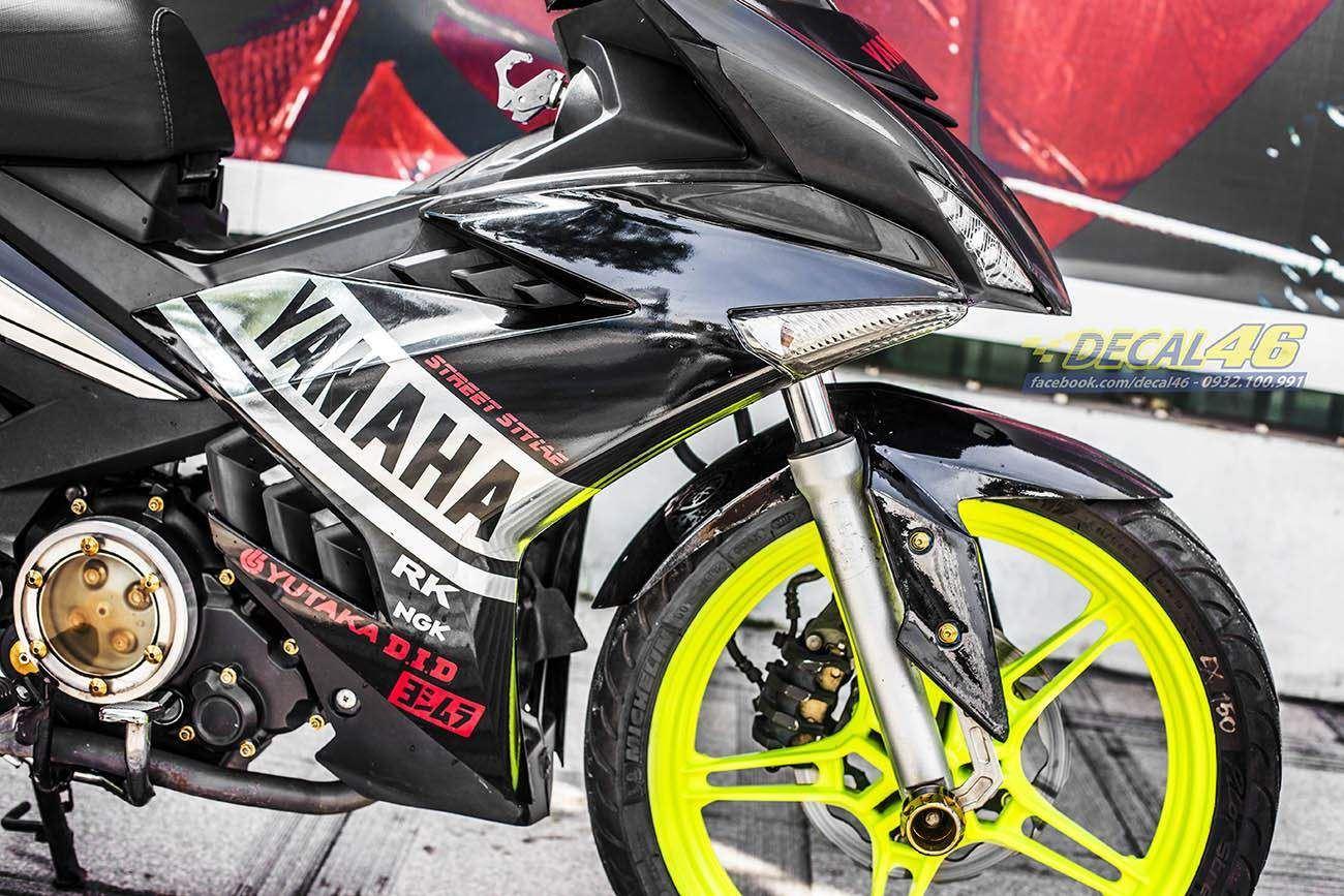 Tem xe Exciter 150 – 339 – Tem xe thiết kế Chrome Yamaha vàng đen