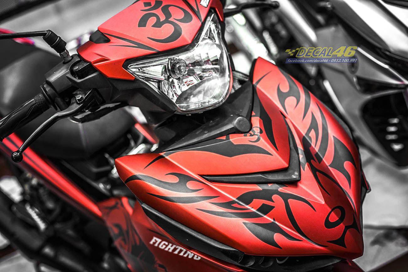 Tem xe Exciter 150 – 347 – Tem xe thiết kế Sói đỏ đen