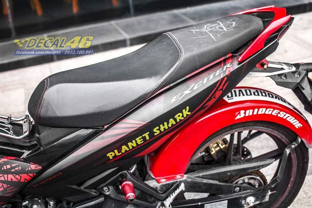Tem xe Exciter 150 – 383 – Tem xe thiết kế Shark đỏ đen