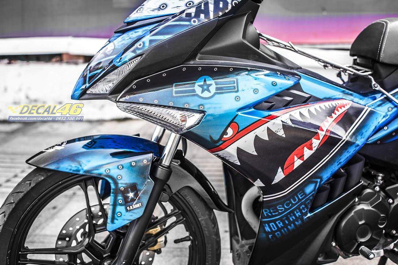 Tem xe Exciter 150 – 343 – Tem xe thiết kế Shark xanh bạc
