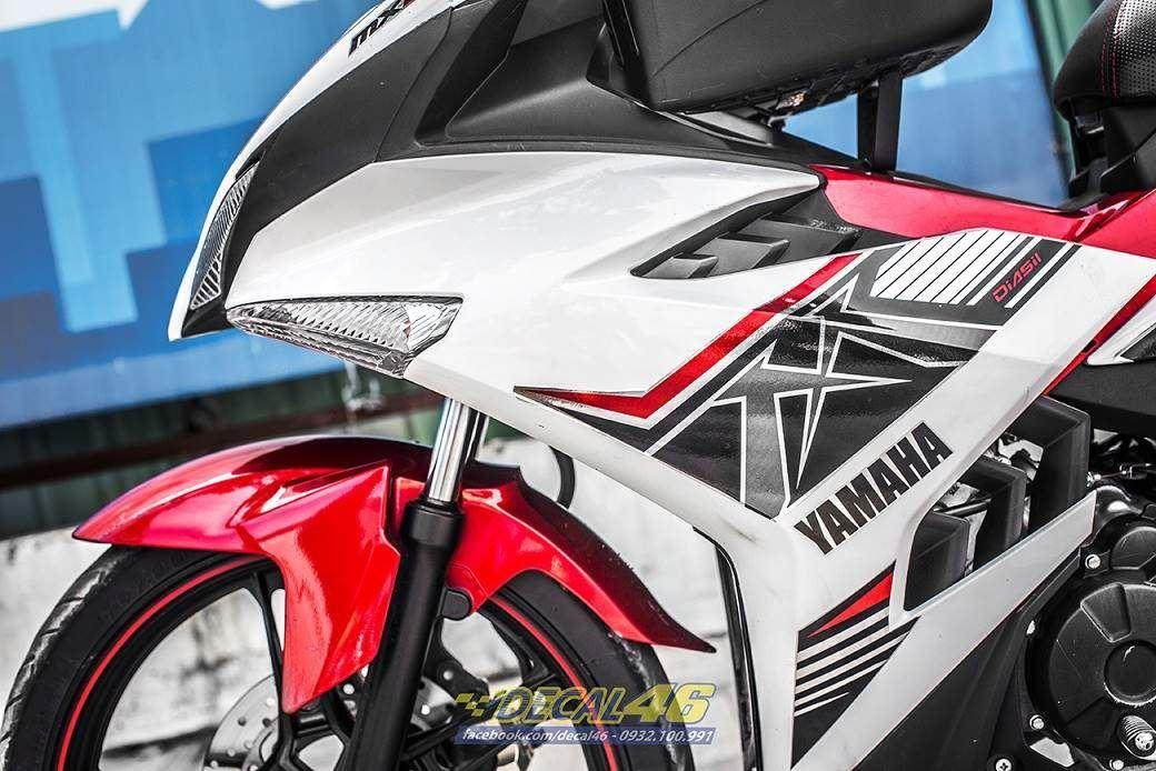 Tem xe Exciter 150 – 356 – Tem xe thiết kế MX KING trắng đỏ