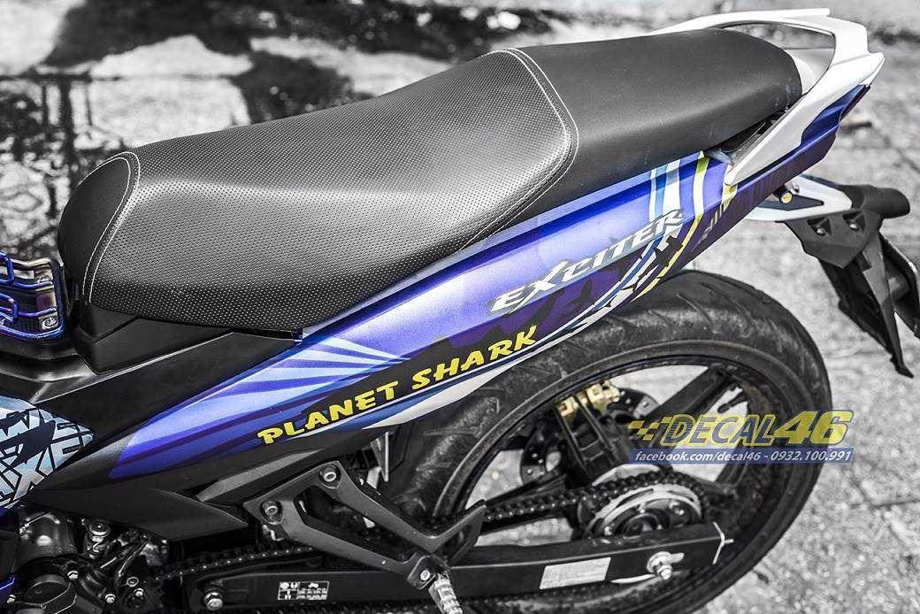 Tem xe Exciter 150 – 357 – Tem xe thiết kế Planet Shark xanh bạc