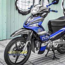 Tem xe Yamaha Sirius - 211 - Tem xe thiết kế xanh đen candy