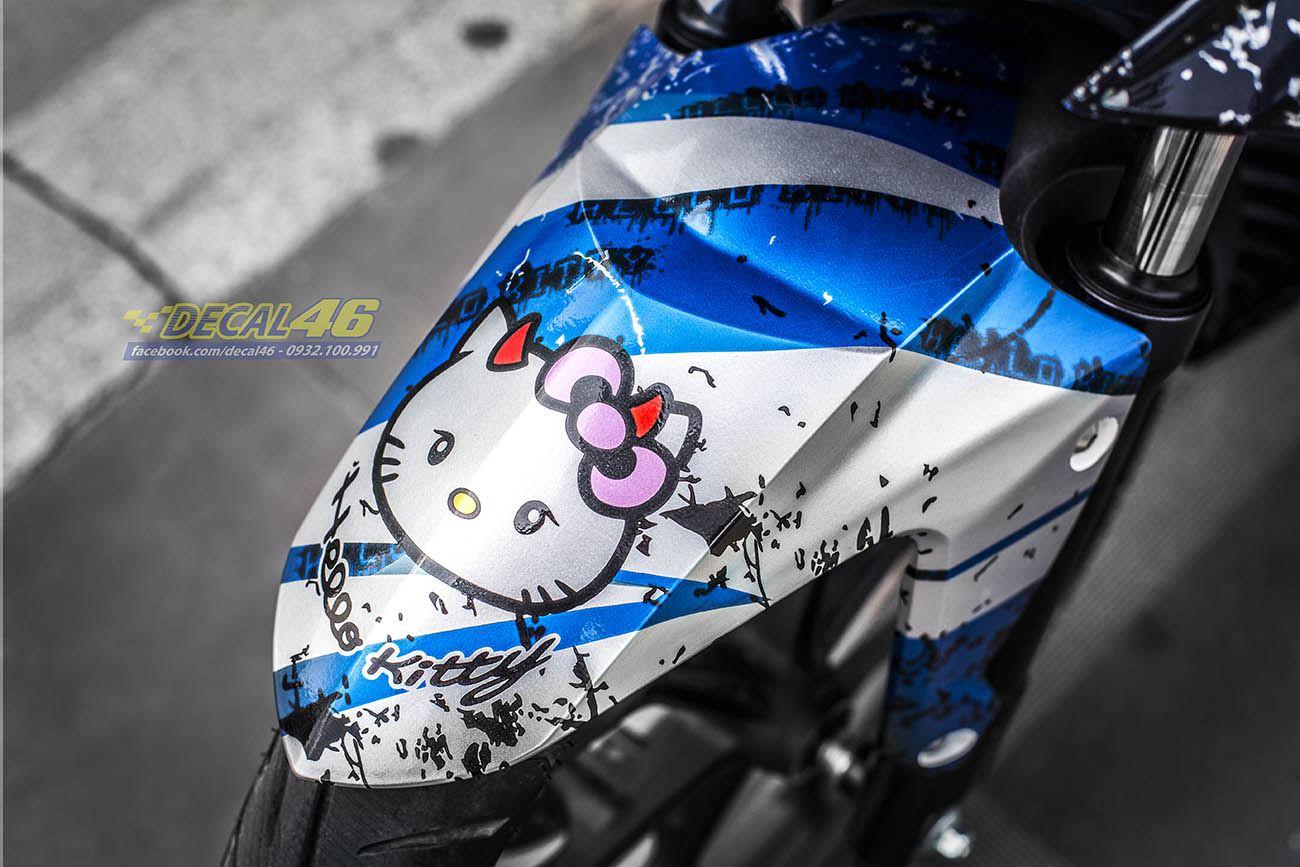 Tem xe Winner 150 - 224 - Tem xe thiết kế Hello Kitty xanh trắng