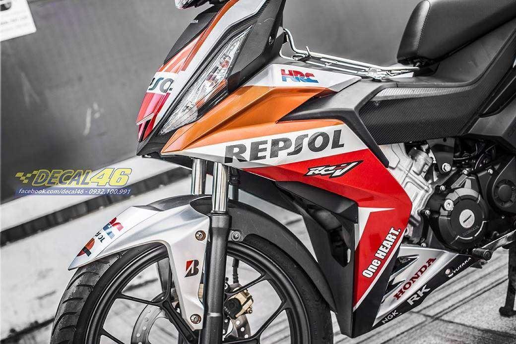 Tem xe Winner 150 - 234 - Tem xe thiết kế Repsol candy trắng cam đỏ