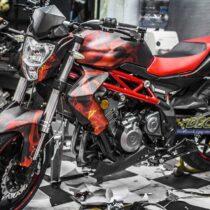 Tem xe PKL - Tem xe Benelli thiết kế Lửa đỏ đen