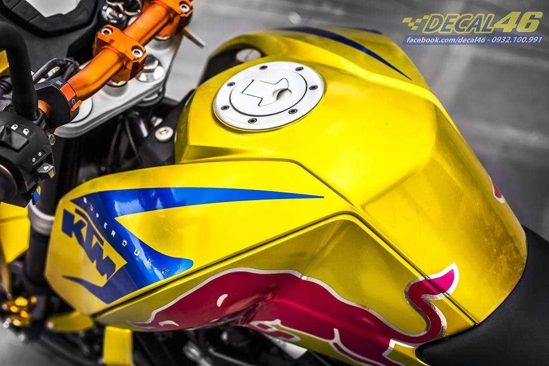 Tem xe KTM - DUKE - 21 - Tem xe thiết kế Redbull candy vàng