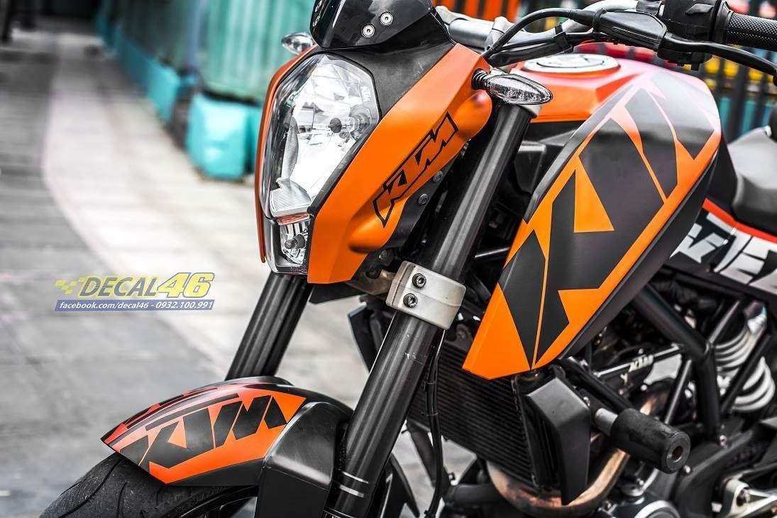 Tem xe KTM - DUKE - 22 - Tem xe thiết kế KTM nhôm cam đen