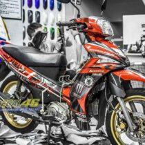 Tem xe Yamaha Sirius - 214 - Tem xe thiết kế Duke candy đỏ đen