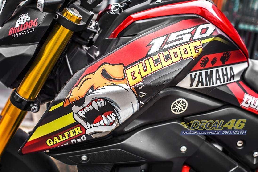 Tem xe TFX-M-Slaz - Tem xe thiết kế Bulldog nhôm đỏ đen