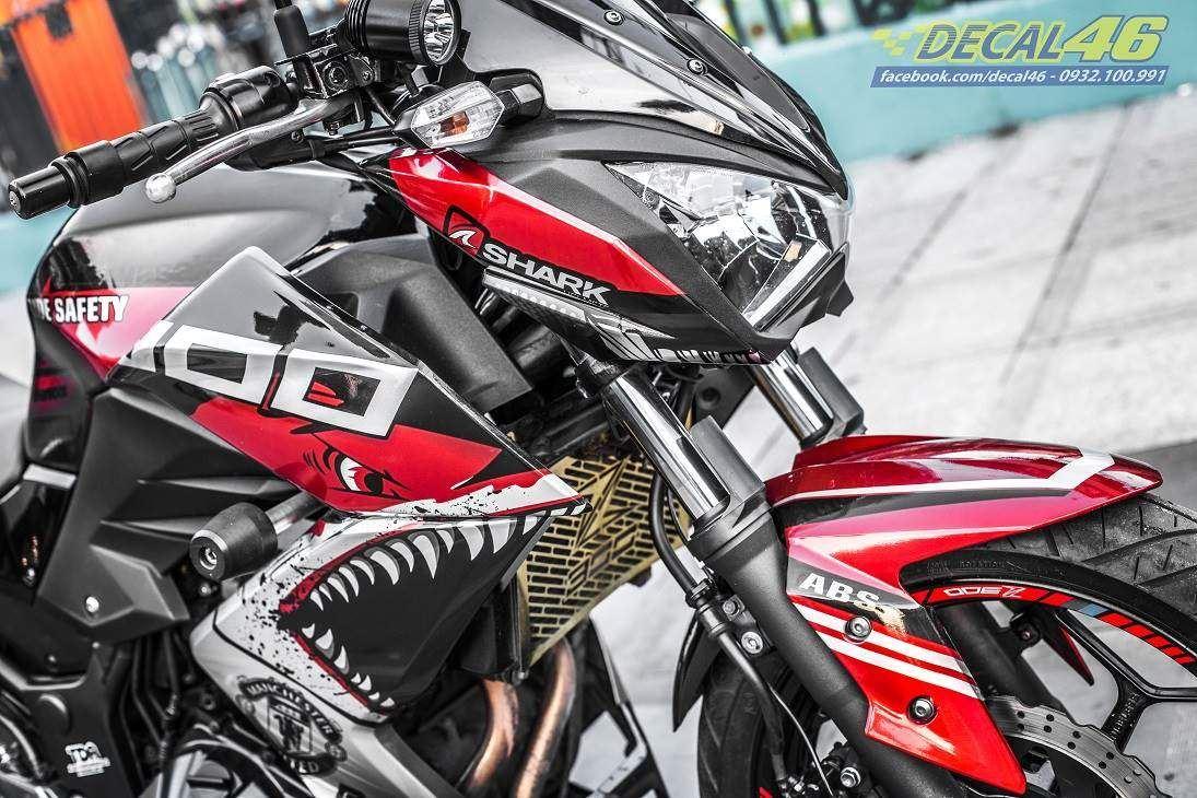 Tem xe PKL - Tem xe Z300 thiết kế Shark candy đỏ đen