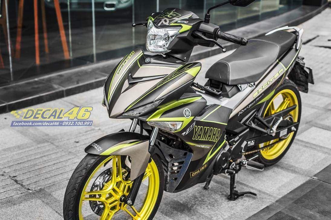 Tem xe Exciter 150 – 393 – Tem xe thiết kế Yamaha nhôm vàng đen