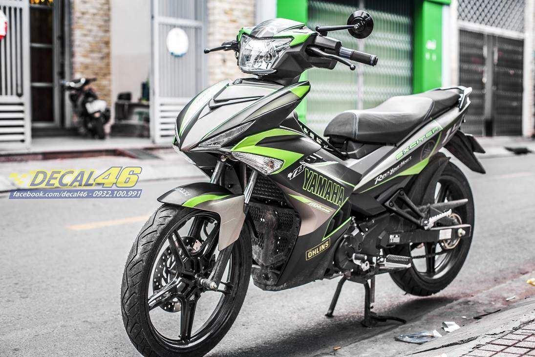 Tem xe Exciter 150 – 395 – Tem xe thiết kế Yamaha nhôm xanh đen