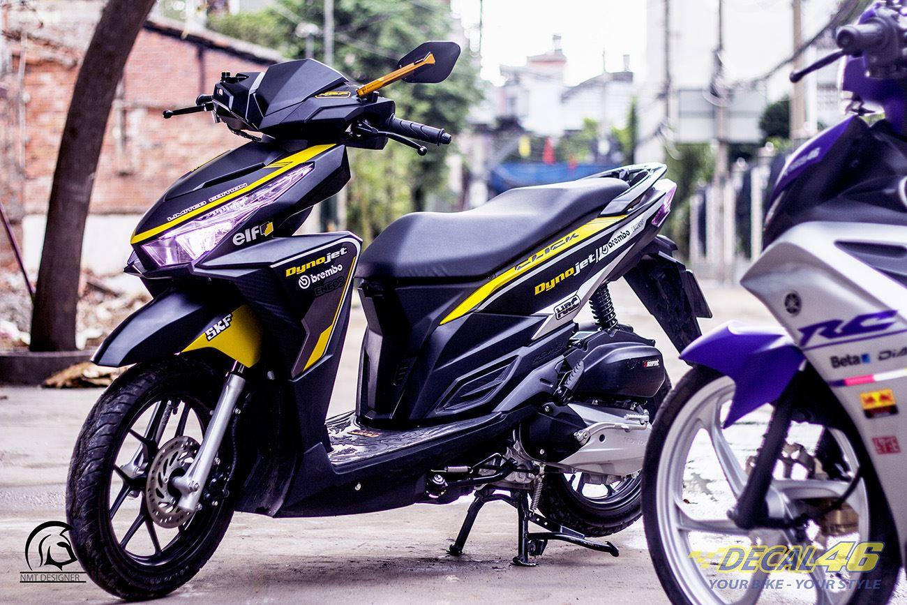 Tem xe Honda Click - 019 - Tem xe thiết kế tem đấu nhôm vàng đen