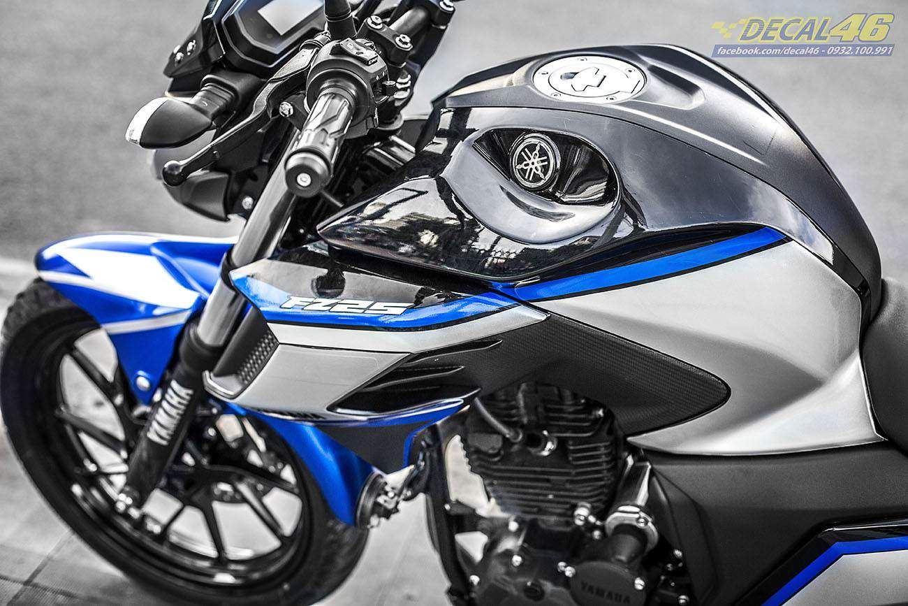 Tem xe FZ25 - Tem xe thiết kế Candy xanh bạc
