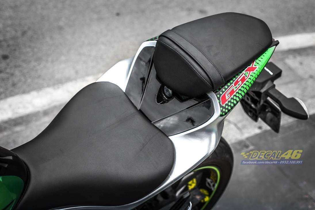Tem xe GSX R150 - Tem xe thiết kế Shark candy xanh
