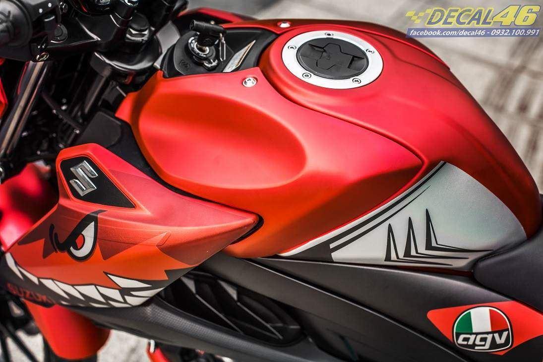 Tem xe GSX S150 - Tem xe thiết kế Cá mập nhôm đỏ đen