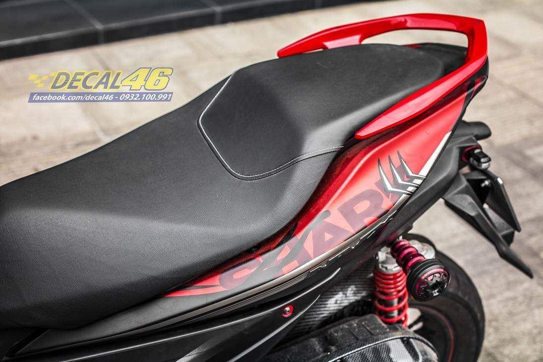 Tem xe NVX - 37 - Tem xe thiết kế Shark nhôm đỏ đen
