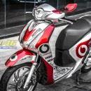 Tem xe Honda SH 150 Italia – Tem xe thiết kế Vodafone candy trắng đỏ