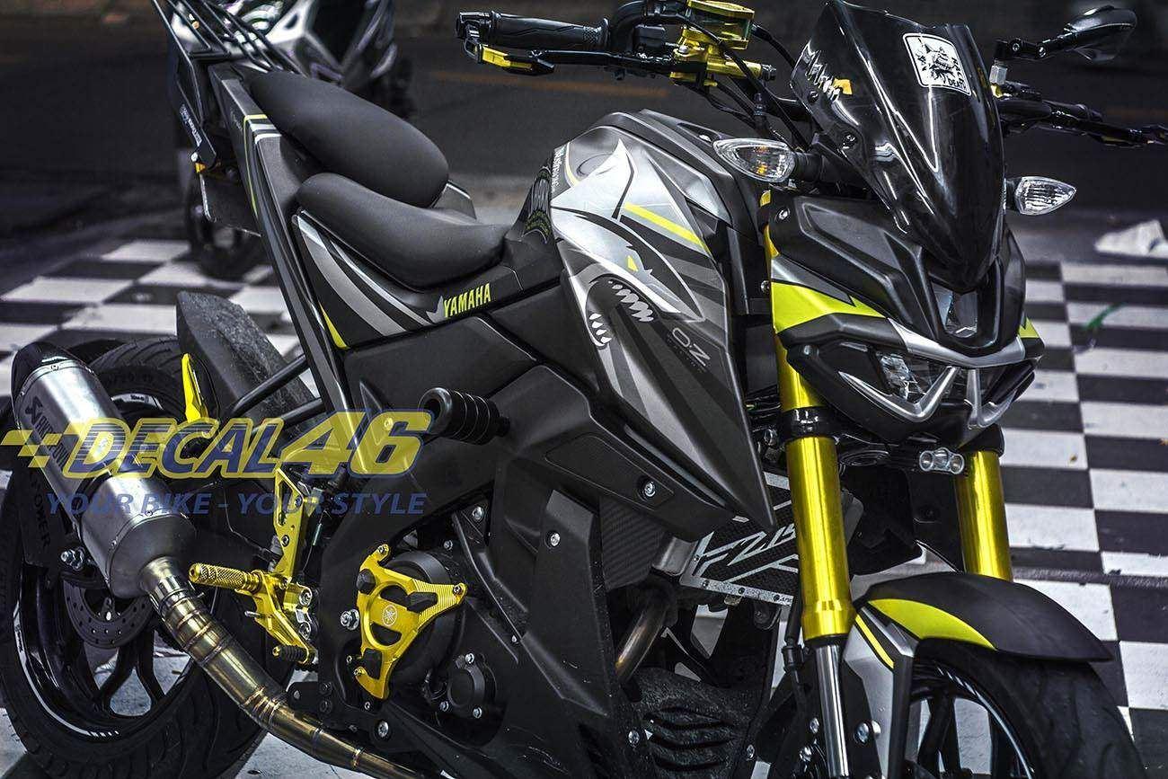 Tem xe TFX-M-Slaz - Tem xe thiết kế Shark nhôm vàng đen