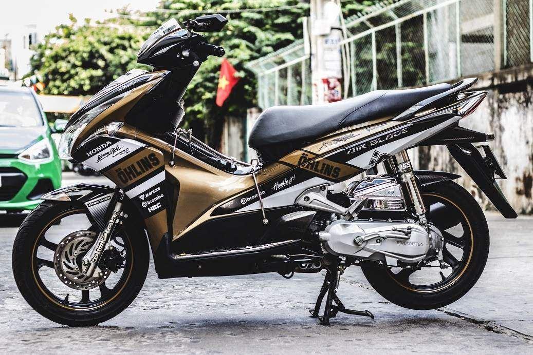 Tem xe Honda Airblade 2011 - 8 - Tem xe thiết kế Ohlins candy nâu đen
