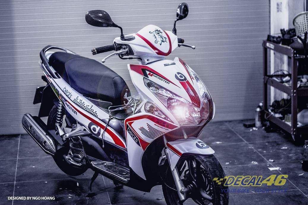 Tem xe Honda Airblade 2011 - 2 - Tem xe thiết kế Beat candy trắng đỏ