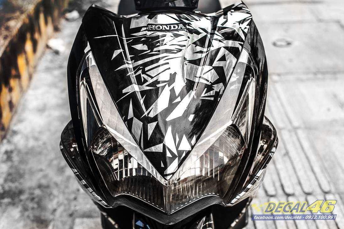 Tem xe Honda Airblade 2011 - 6 - Tem xe thiết kế Mirror chrome trắng đen