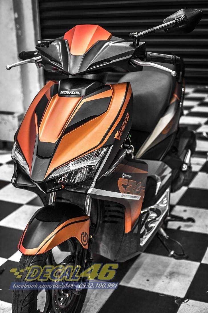 Tem xe Honda Airblade 2016 - 055 - Tem xe thiết kế CRG nhôm cam đen