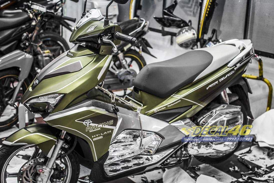 Tem xe Honda Airblade 2016 - 049 - Tem xe thiết kế nhôm xanh army
