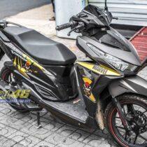 Tem xe Honda Click - 021 - Tem xe thiết kế Marvel nhôm vàng đen