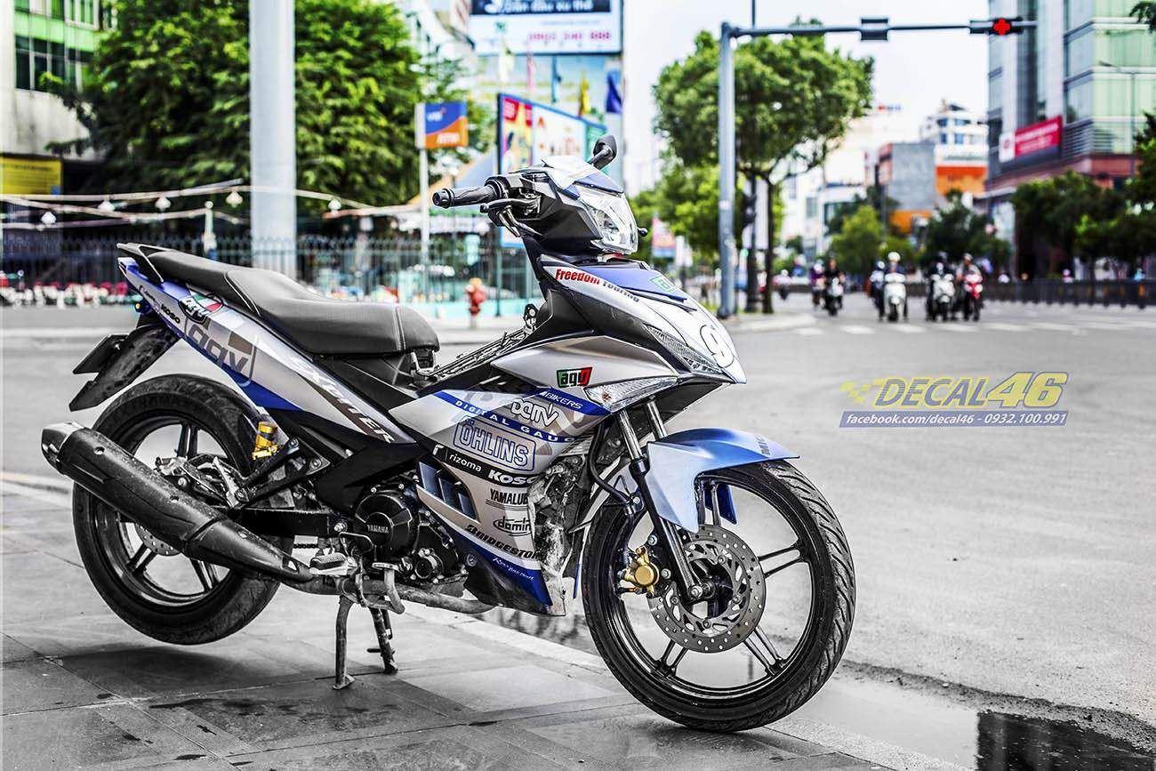 Tem xe Exciter 150 – 420 – Tem xe thiết kế Ohlins nhôm xanh bạc