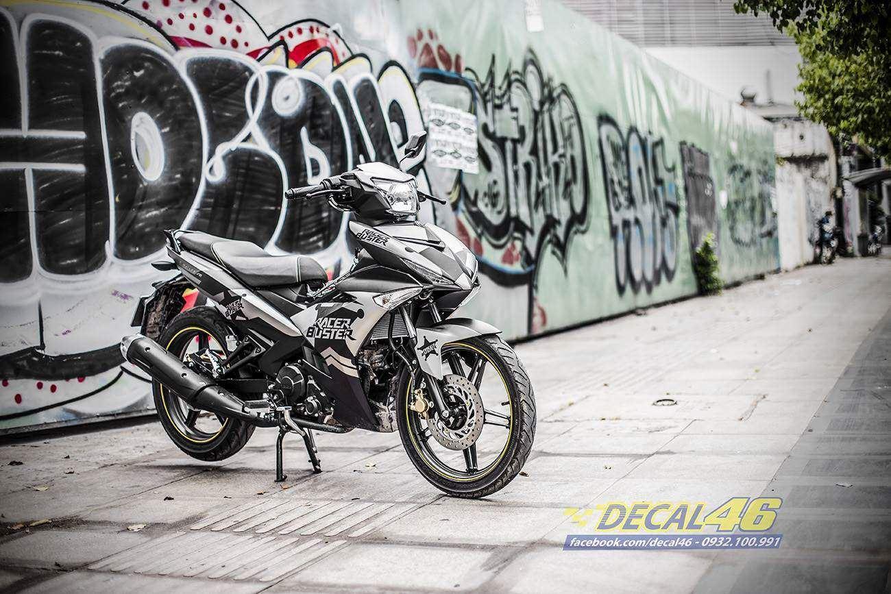 Tem xe Exciter 150 – 411 – Tem xe thiết kế Racer Buster nhôm đen xám