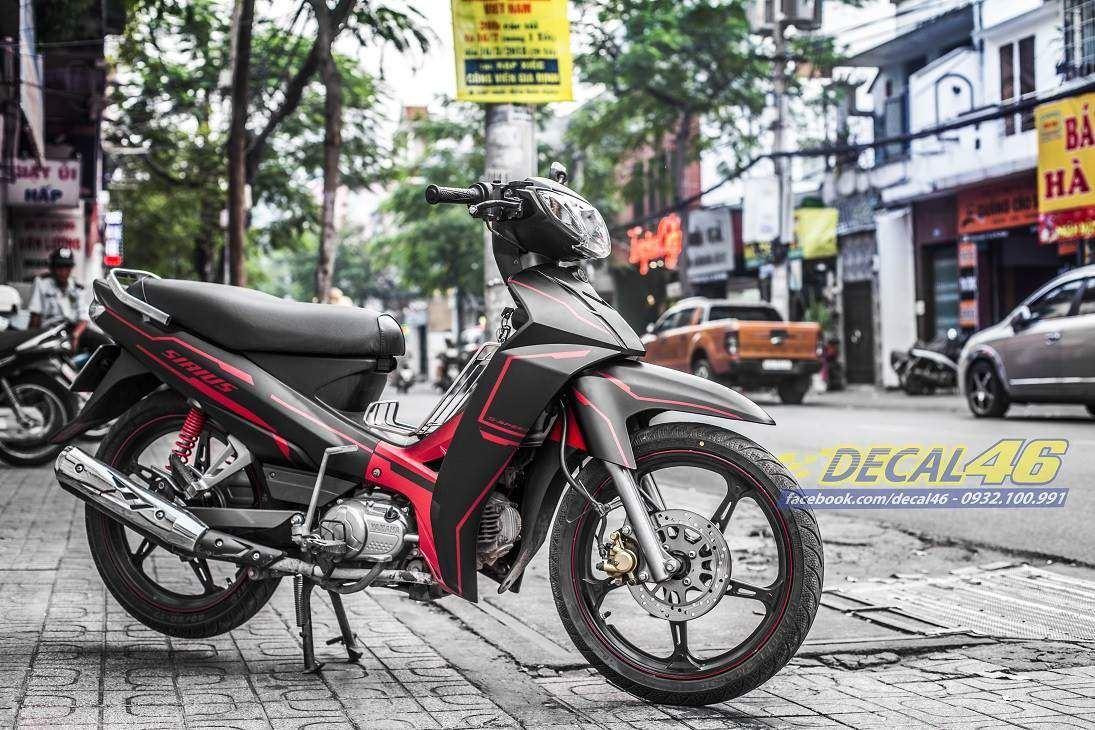 Tem xe Yamaha Sirius - 216 - Tem xe thiết kế đen light đỏ nhôm
