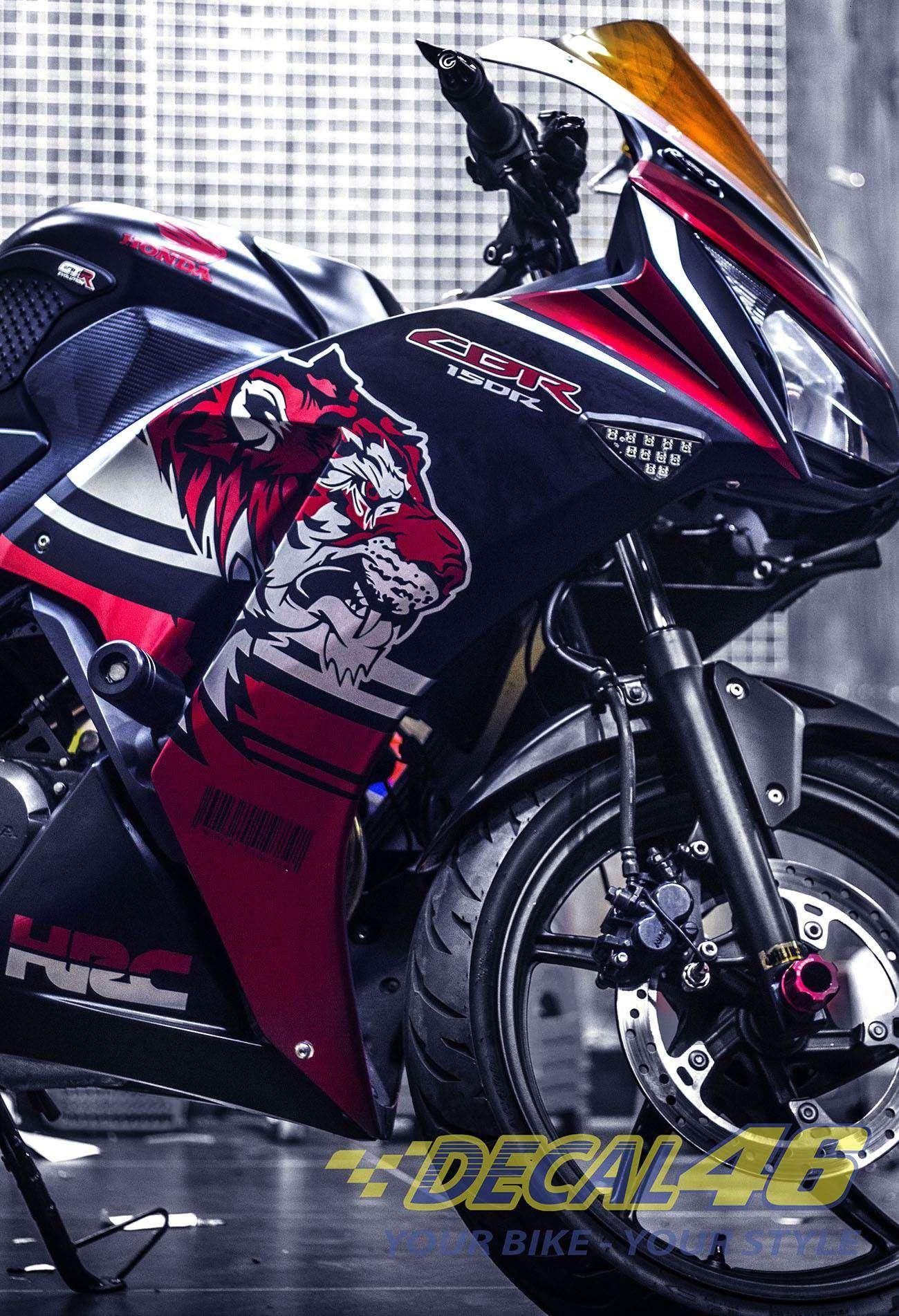 Tem xe CBR150 - 14 - Tem xe thiết kế Tiger nhôm đỏ đen