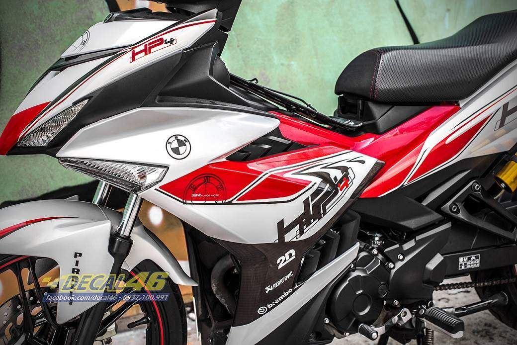 Tem xe Exciter 150 – 415 – Tem xe thiết kế HP4 ngọc trai trắng đỏ