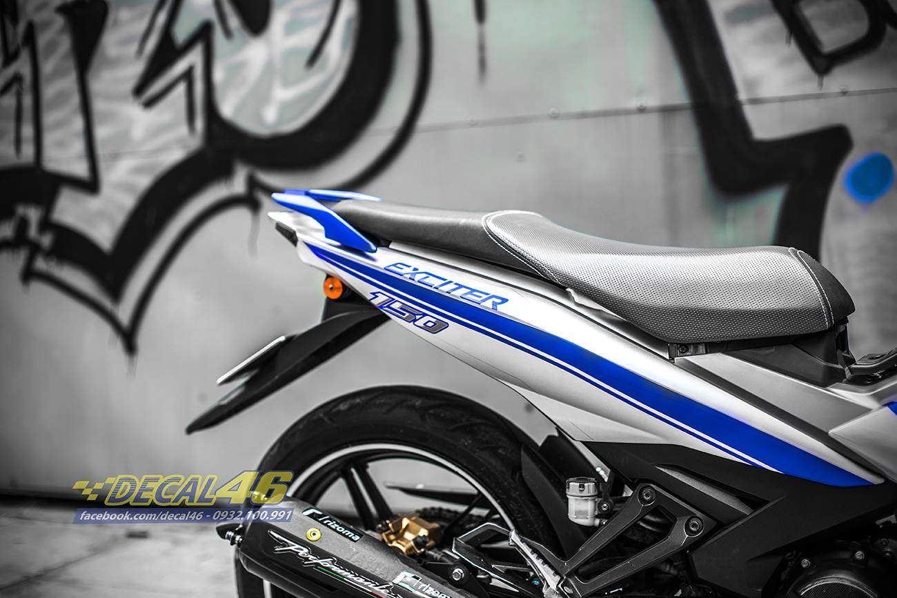 Tem xe Exciter 150 – 419 – Tem xe thiết kế Slider nhôm xanh bạc