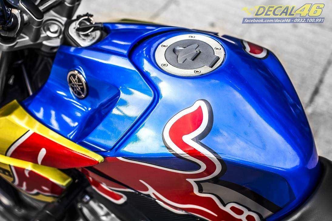 Tem xe FZ150i - 075 - Tem xe thiết kế Redbull candy xanh