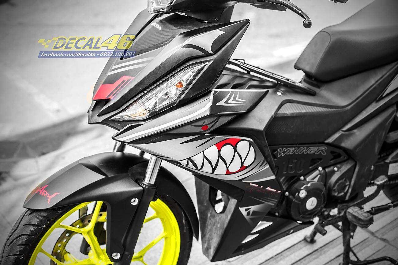 Tem xe Winner 150 - 293 - Tem xe thiết kế Cá mập nhôm đen nhám