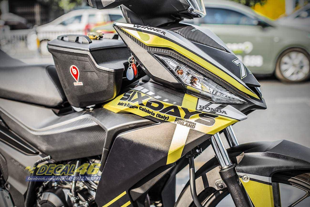 Tem xe Winner 150 - 288 - Tem xe thiết kế Sixday nhôm vàng đen