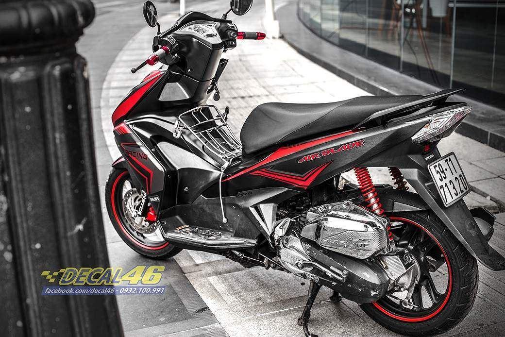 Tem xe Honda Airblade 125 - 045 - Tem xe thiết kế Racing nhôm xước đen